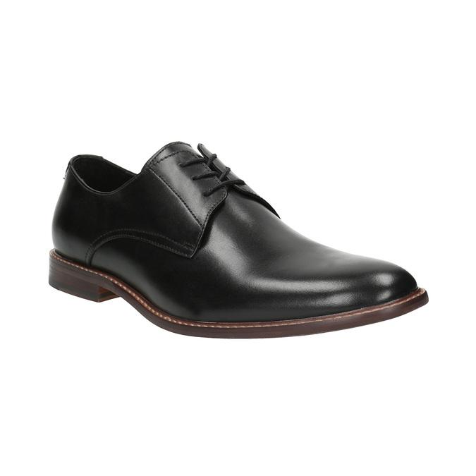 Czarne skórzane półbuty z wyrazistym stębnowaniem bata, czarny, 824-6684 - 13