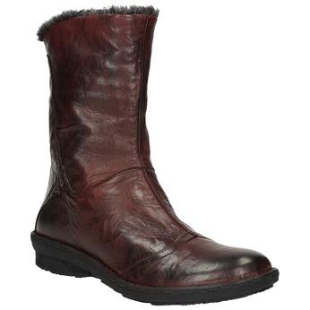 Damskie ocieplane skórzane buty bata, czerwony, 596-5624 - 13