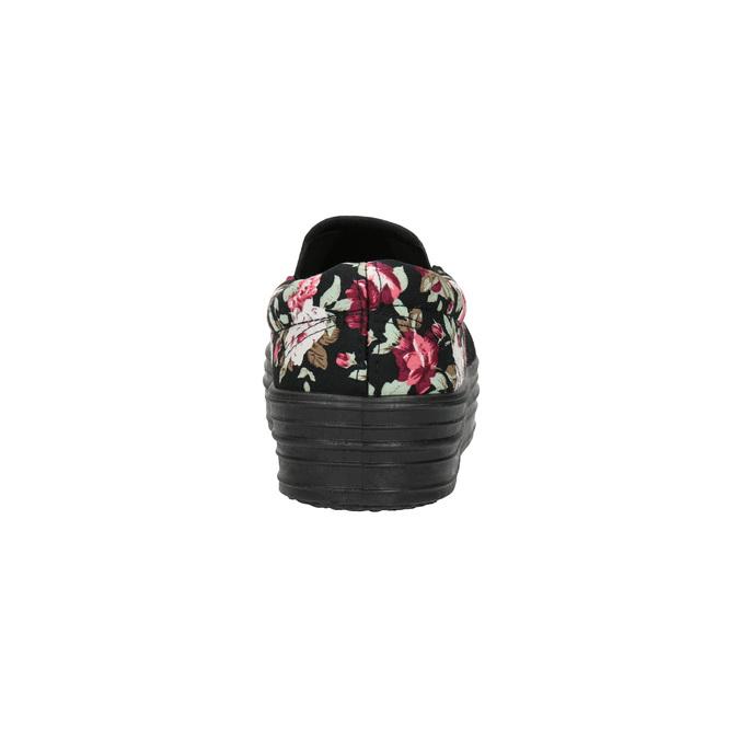 Slip-on damskie zdeseniem wkwiaty bata, czarny, 529-0631 - 17