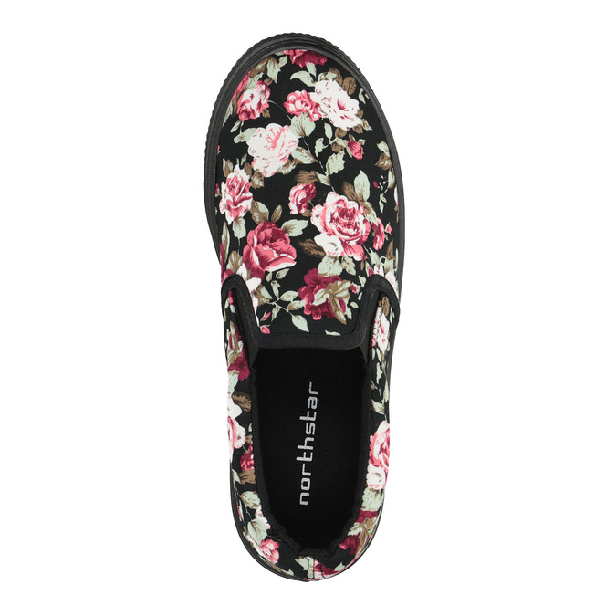 Slip-on damskie zdeseniem wkwiaty bata, czarny, 529-0631 - 19