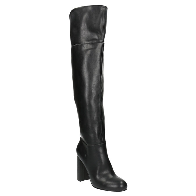 Kozaki za kolano na obcasie bata, czarny, 791-6609 - 13