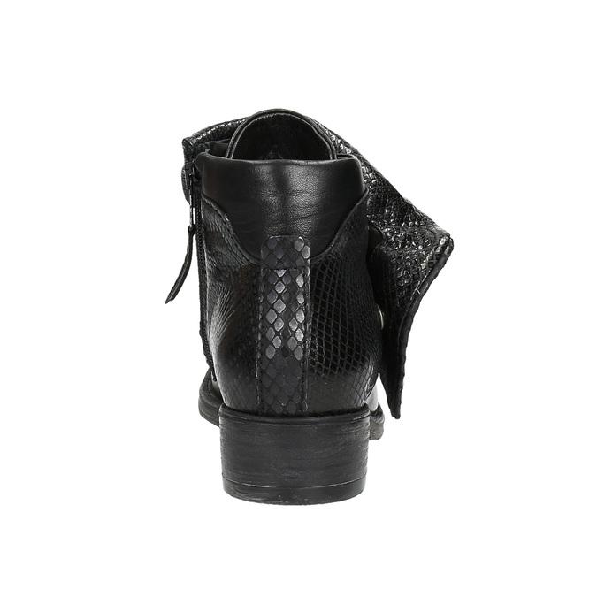 Skórzane botki z szerokim mankietem bata, czarny, 596-6617 - 17