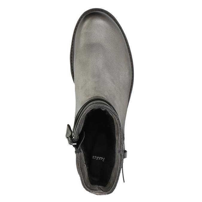 Skórzane botki z metalicznymi elementami bata, szary, 596-2619 - 19