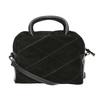 Mała skórzana torebka z paskiem bata, czarny, 963-6133 - 19