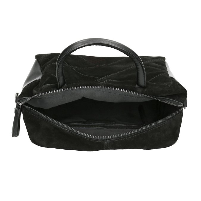 Mała skórzana torebka z paskiem bata, czarny, 963-6133 - 15