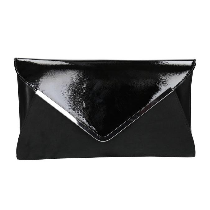 Czarna kopertówka ze srebrnym łańcuszkiem bata, czarny, 961-6221 - 26