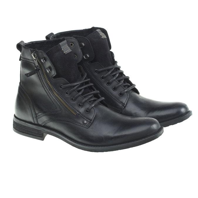 Skórzane botki bata, czarny, 894-6449 - 26