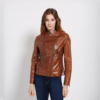 Skórzana kurtka damska zzamkami błyskawicznymi bata, brązowy, 974-3162 - 13