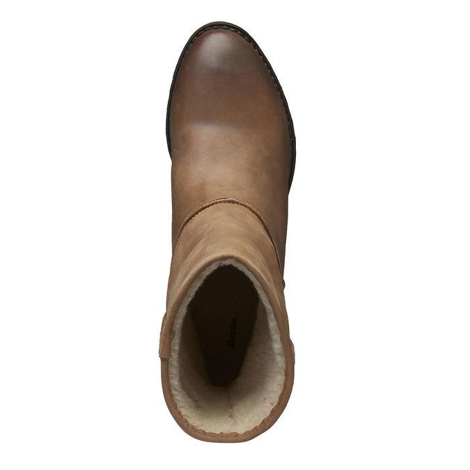 Skórzane kozaki z kożuszkiem bata, brązowy, 696-3109 - 19
