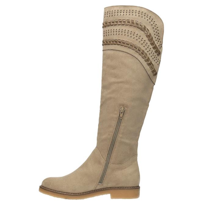 Kozaki za kolana bata, beżowy, 599-2602 - 19