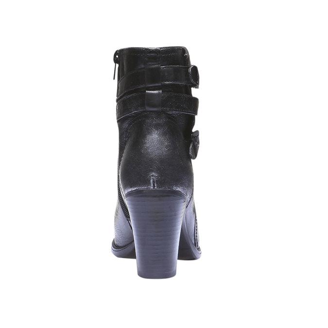 Skórzane kozaki do kostki bata, czarny, 794-6100 - 17