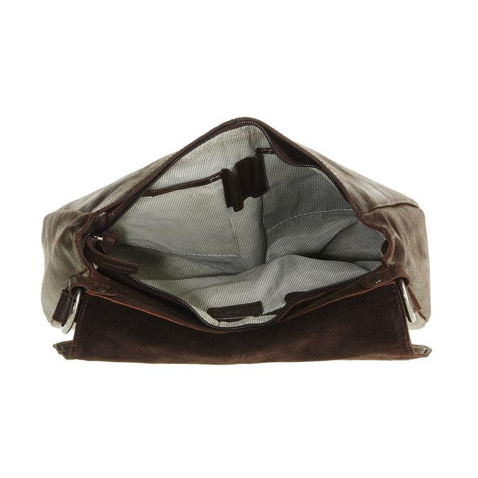 Skórzana torebka z klapą bata, brązowy, 964-4133 - 15