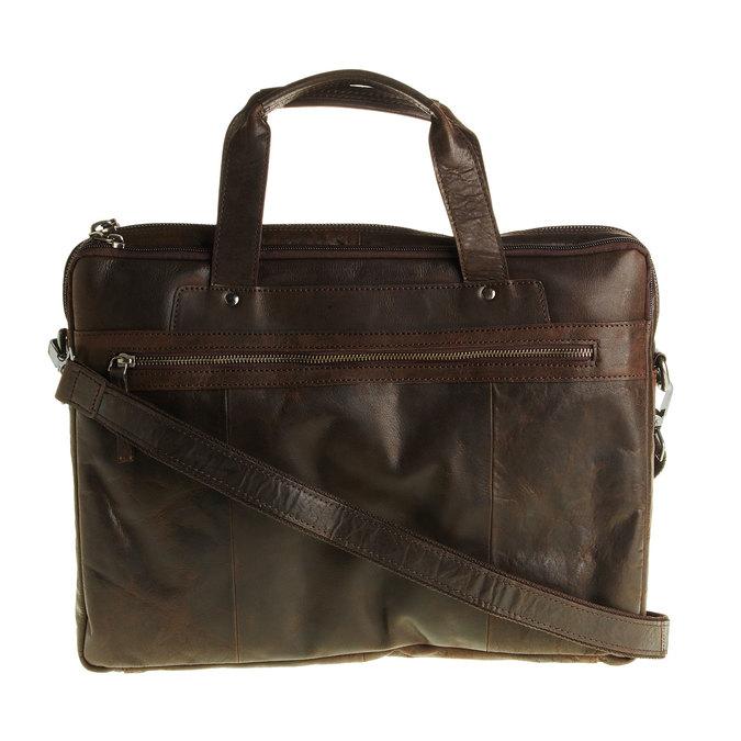 Skórzana torebka z zamkiem bata, brązowy, 964-4101 - 26