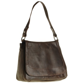 Skórzana torebka z klapą bata, brązowy, 964-4133 - 13