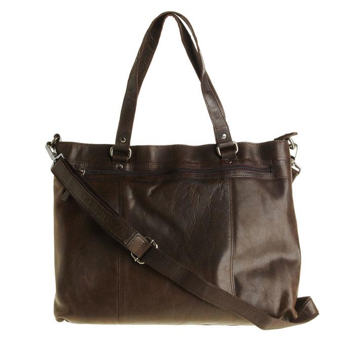 Skórzana torebka z odpinanym paskiem bata, brązowy, 964-4132 - 26