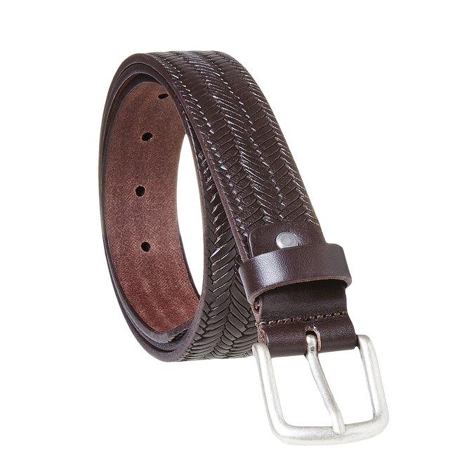 Skórzany wyplatany pasek męski bata, brązowy, 954-4158 - 13