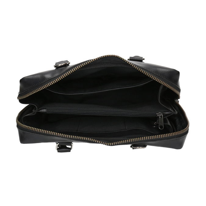 Czarna skórzana torba ze sztywnymi uchwytami royal-republiq, czarny, 964-6014 - 15