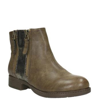 Damskie botki z zamkami bata, brązowy, 591-3612 - 13