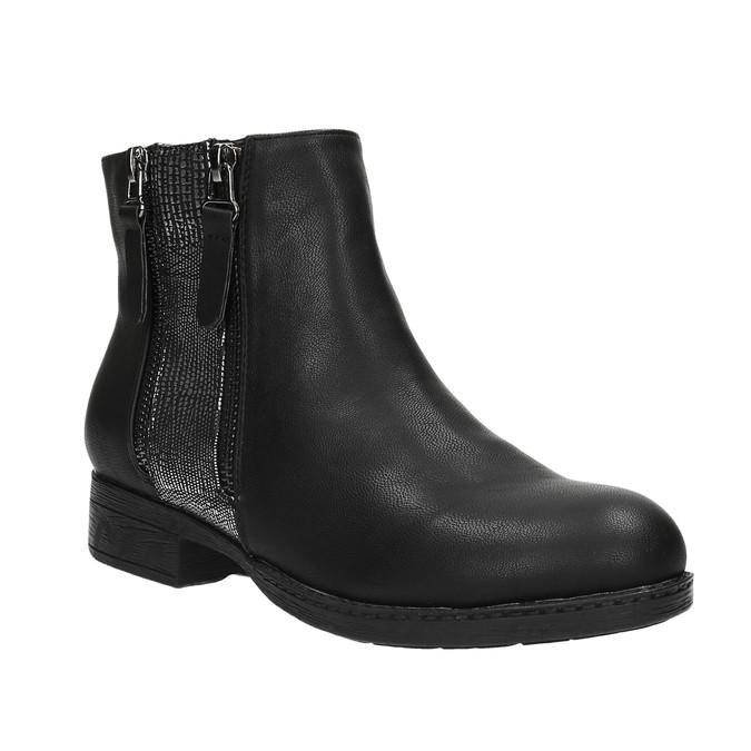 Damskie botki z zamkami bata, czarny, 591-6612 - 13