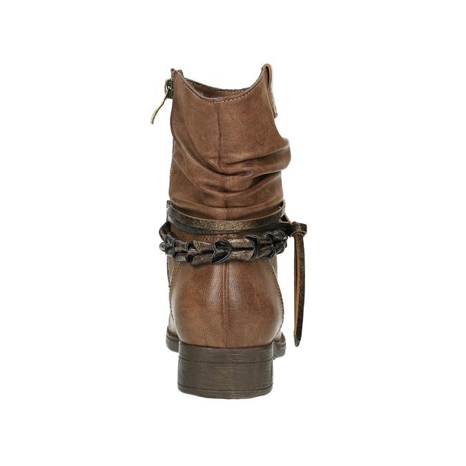Damskie kozaki do kostki bata, brązowy, 591-4610 - 17