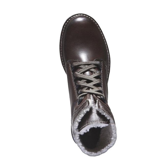Skórzane sznurowane buty z kożuszkiem bata, brązowy, 594-4109 - 19