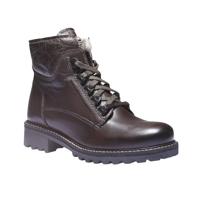Skórzane sznurowane buty z kożuszkiem bata, brązowy, 594-4109 - 13
