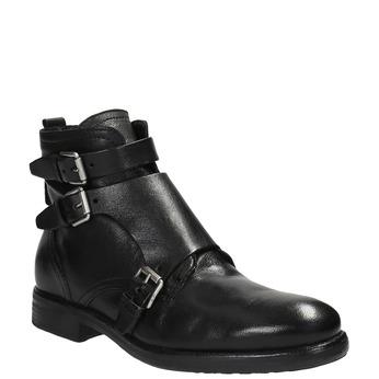 Skórzane buty ze sprzączkami bata, czarny, 894-6683 - 13