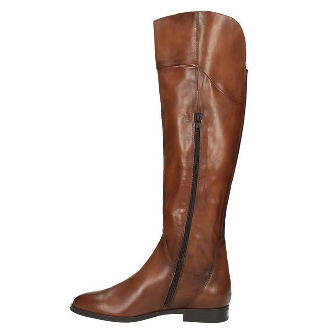 Brązowe skórzane kozaki do kolan bata, brązowy, 594-4605 - 19