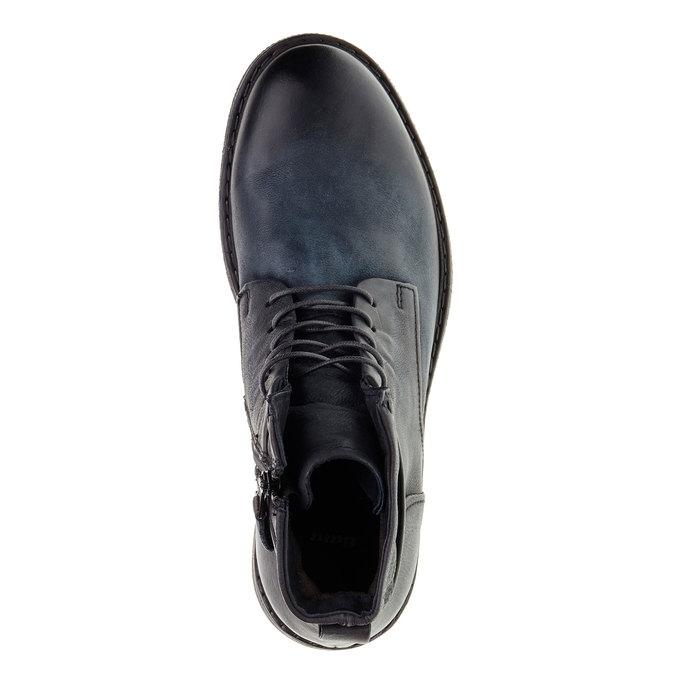 Skórzane buty męskie za kostkę bata, czarny, 894-6368 - 19