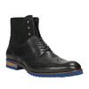 Skórzane buty za kostkę zniebieską podeszwą conhpol, czarny, 894-6682 - 13