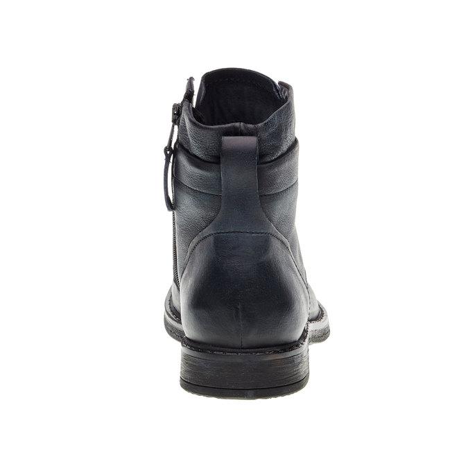 Skórzane buty męskie za kostkę bata, czarny, 894-6368 - 17