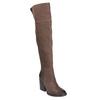 Skórzane kozaki za kolana, na masywnym obcasie bata, brązowy, 696-4611 - 13