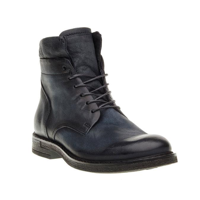 Skórzane buty męskie za kostkę bata, czarny, 894-6368 - 13