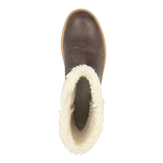 Skórzane buty zimowe z futerkiem weinbrenner, żółty, 596-8628 - 19