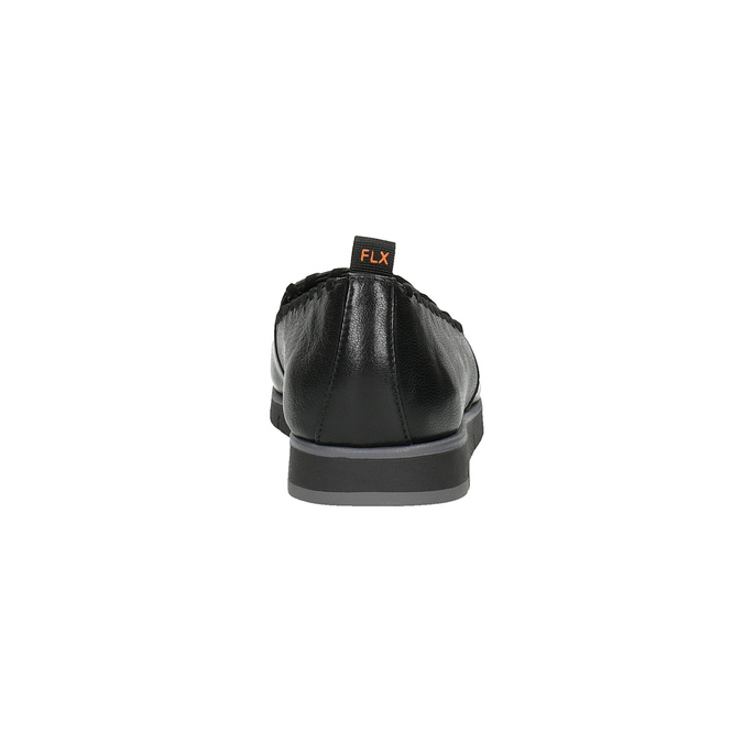 Slip-on damskie ze skóry, z lamówką flexible, czarny, 514-6257 - 17