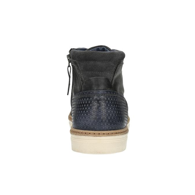 Ocieplane skórzane trampki za kostkę bata, szary, 896-2651 - 17