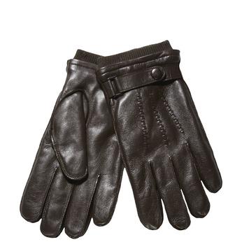 Męskie skórzane rękawiczki ze ściągaczem bata, brązowy, 904-4118 - 13