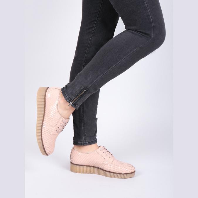 Damskie skórzane półbuty bata, różowy, 526-5613 - 14