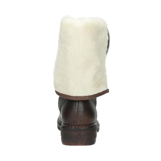 Skórzane buty zimowe zfuterkiem manas, brązowy, 596-4600 - 17