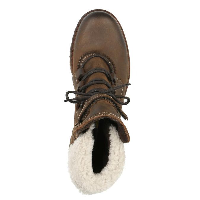 Zimowe skórzane buty damskie manas, brązowy, 596-4602 - 19