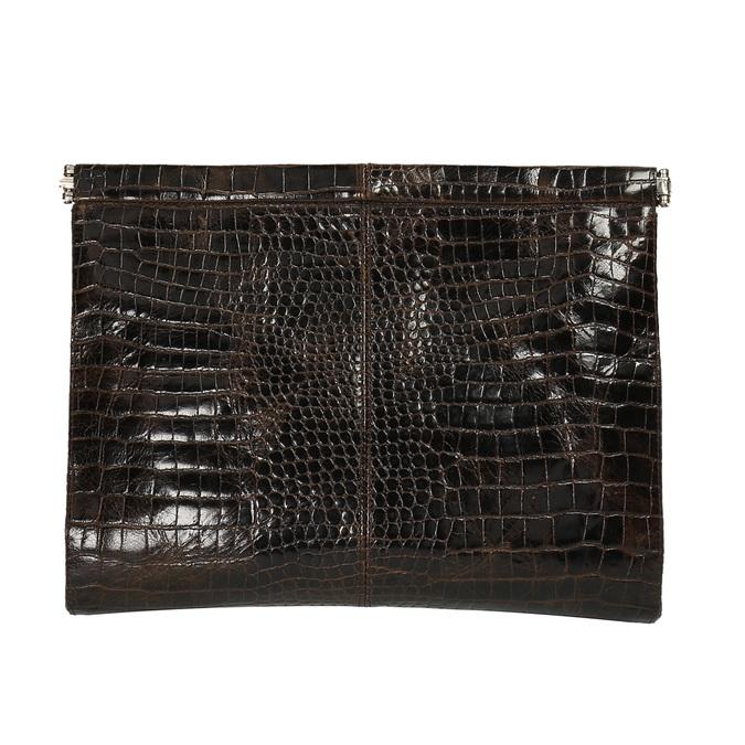 Skórzana kopertówka z krokodylim wzorem vagabond, brązowy, 966-4002 - 26