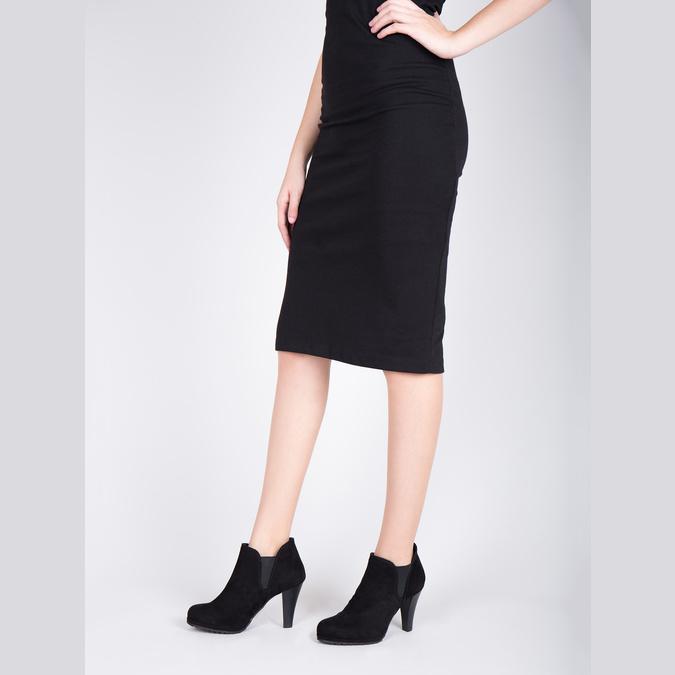 Botki damskie na obcasie, z elastycznymi wstawkami po bokach bata, czarny, 799-6601 - 18