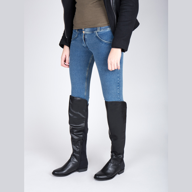 Kozaki damskie za kolana bata, czarny, 591-6604 - 18