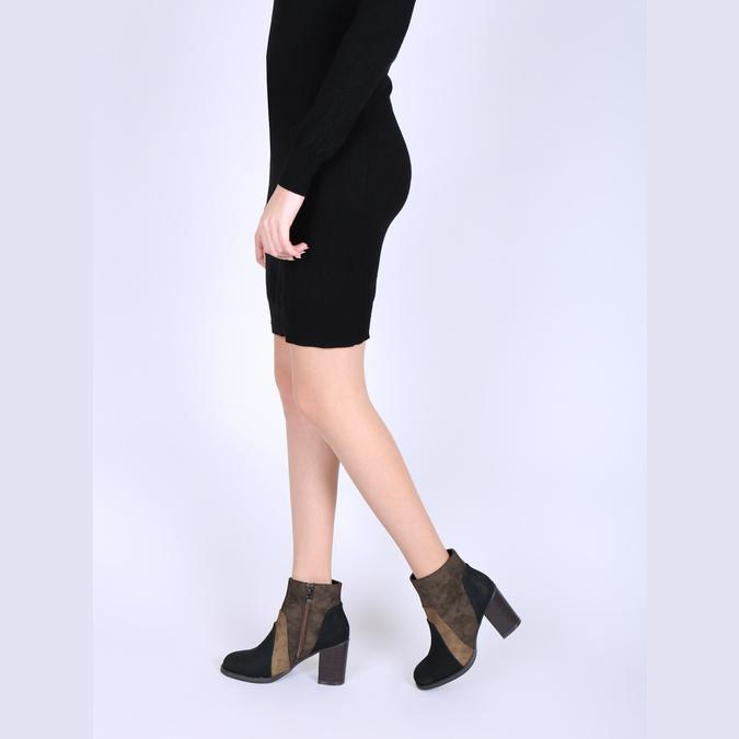 Skórzane botki na szerokim obcasie bata, brązowy, 799-3612 - 18