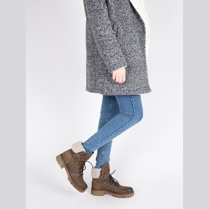 Zimowe skórzane buty damskie manas, brązowy, 596-4602 - 18