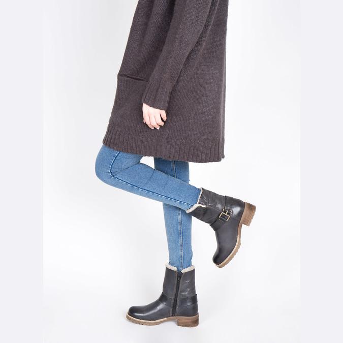 Damskie buty z futerkiem bata, czarny, 594-6609 - 18