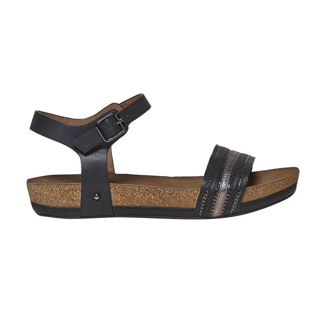 Damskie sandały na wyrazistej podeszwie bata, czarny, 561-6404 - 15