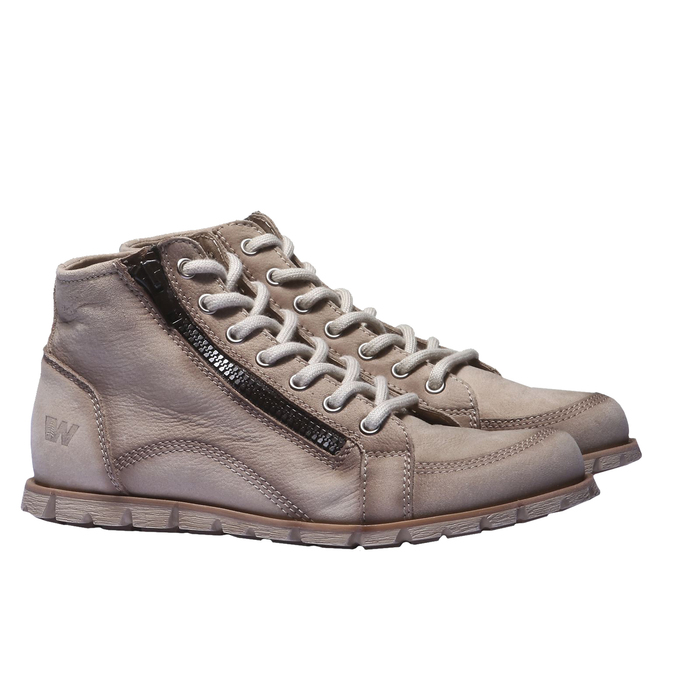 Designerskie buty skórzane weinbrenner, brązowy, szary, 544-2145 - 26