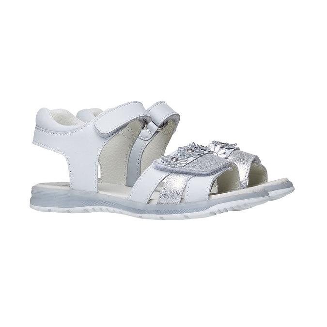 Białe skórzane sandały mini-b, biały, 264-1163 - 26