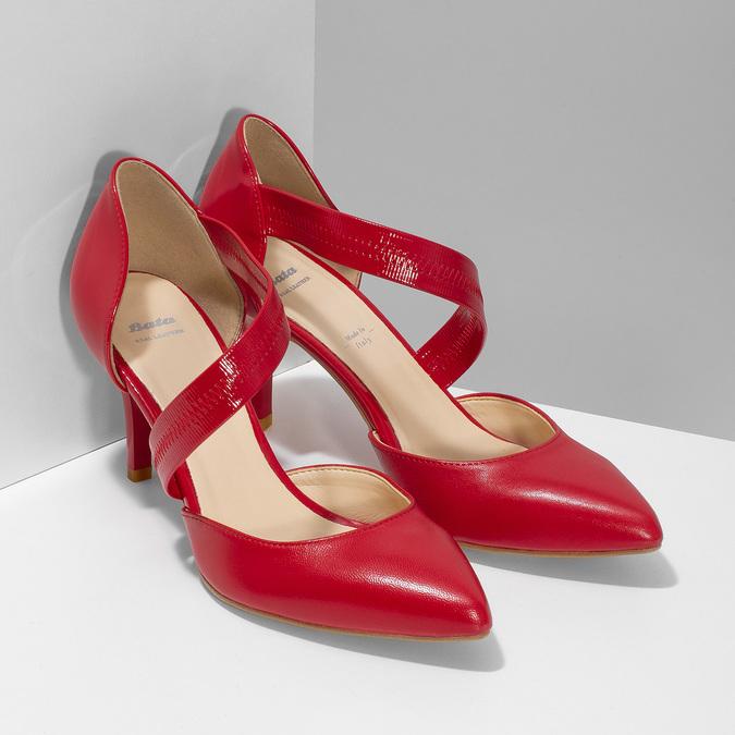 Skórzane czółenka z paskiem bata, czerwony, 724-5904 - 26